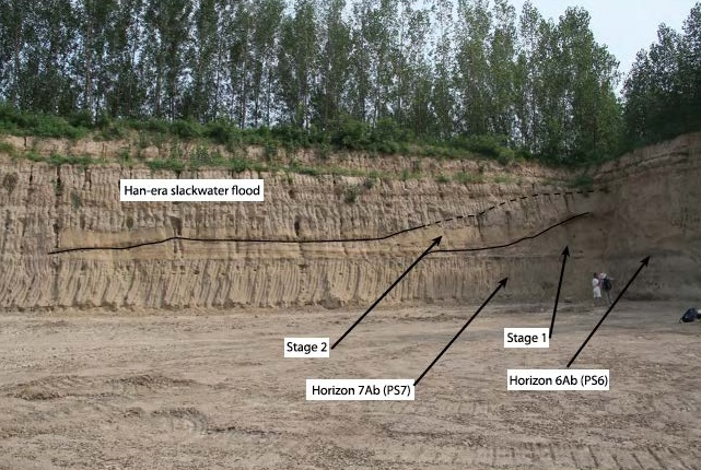 The southwest corner of the brick quarry dig site at Anshang shows remnants of the bank/levee in the sedimentary record.