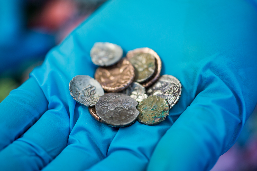 Collection of Late Iron Age coins found at Reynards Kitchen © Richard Davenport Photography