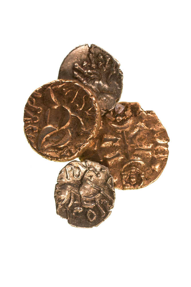 Some of the cleaned Late Iron Age coins found at Reynards Kitchen © Richard Davenport Photography