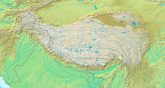 Topographic map of Tibetan Plateau: Wikimedia