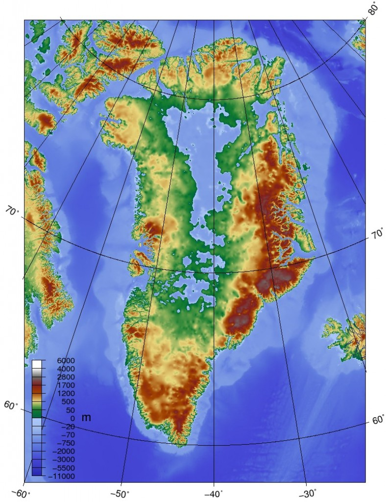 Topographic map of Greenland: WikiPedia