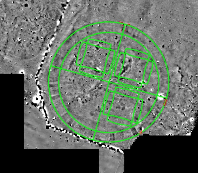 Ground plan of the Fyrkat Viking fortress placed on top of the Vallø ringed fortress. The red lines show the outline of the Vallø excavation (click for larger photo). © Danish Castle Centre