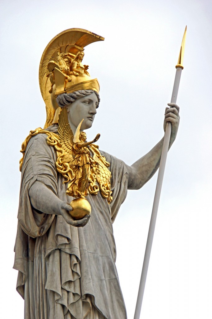 A statute of the goddess Athena with her spear: Flickr