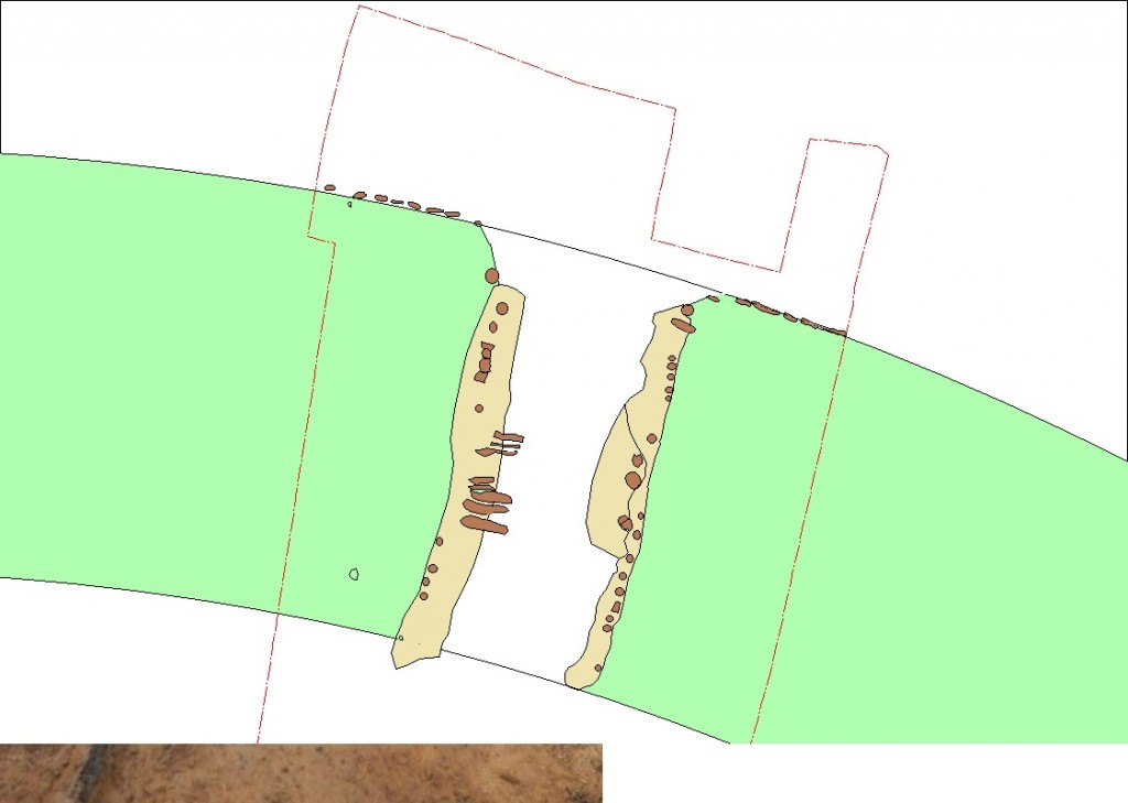 North Port : Retail Plan of the excavation around the castle's north gate . The plan shows the tracks of timber structures from the collapsed port . © Nanna Holm , Danish Castle Centre