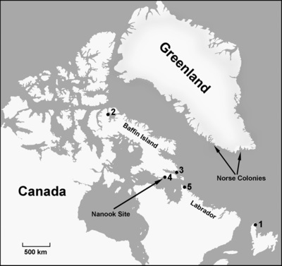 Map showing location of the Nanook site and other sites mentioned in the text: (1) L'Anse aux Meadows, (2) Nunguvik, (3) Willows Island-4, (4) Cape Tanfield localities, (5) Avayalik-1.