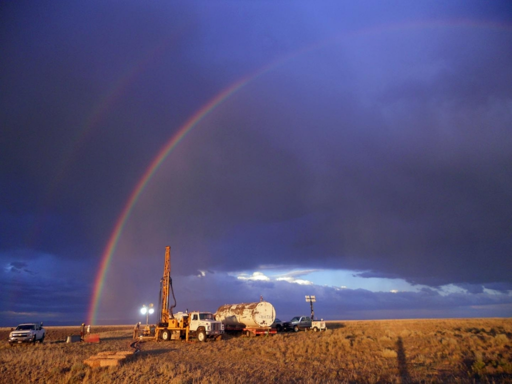 A rainbow appears over National Science Foundation-funded drilling site in Wyoming's Bighorn Basin. In a study led by University of Utah geochemist Gabe Bowen, sediment cores drilled at the site revealed a global warming episode almost 56 million years ago resembled today's in terms of the size and duration of carbon releases to the atmosphere. Credit: Elisabeth Denis, Pennsylvania State University.
