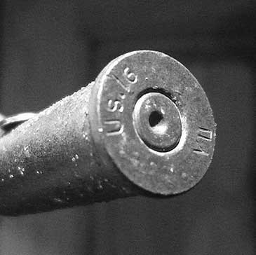 One of a small assemblage of .303 shell cases that were manufactured in America