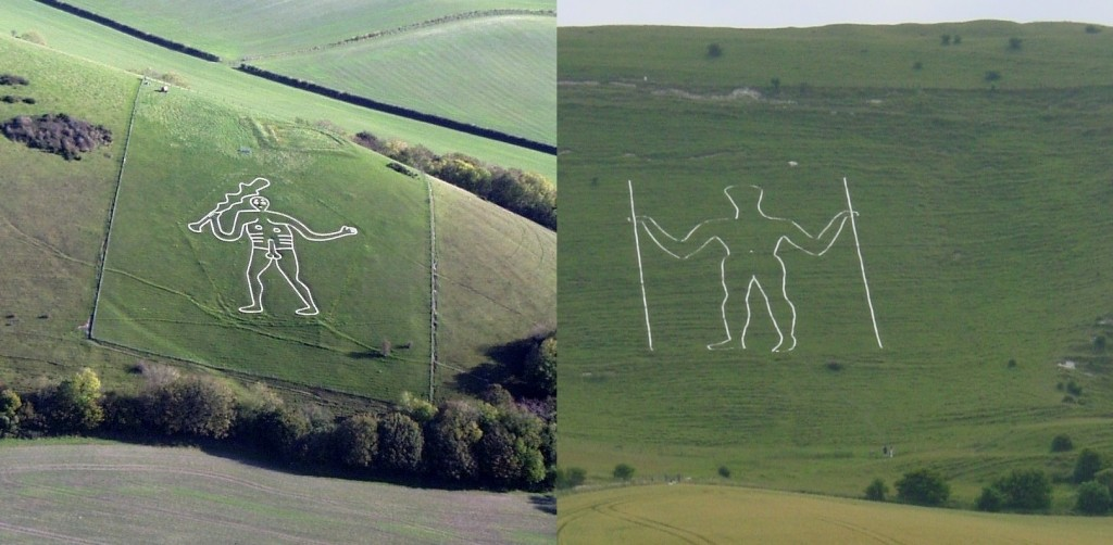 Cerne Abbas Giant (Left), Long Man of Wilmington (Right) - Credit : WikiPedia
