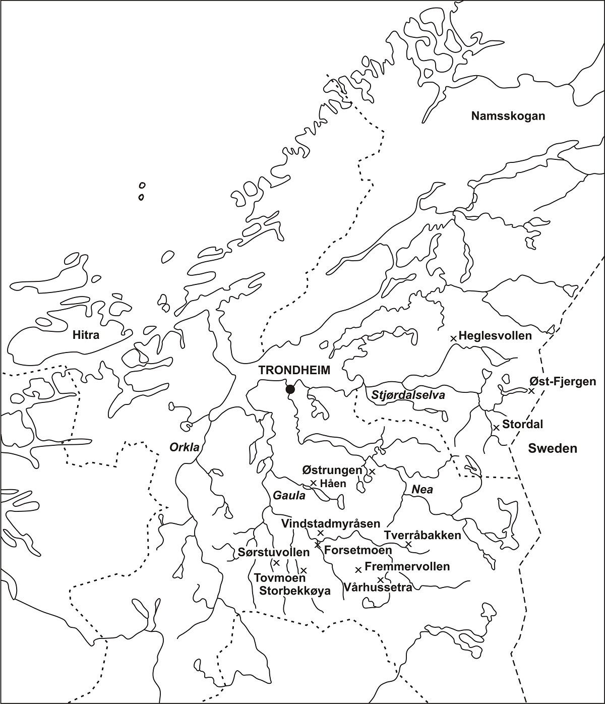 Places that testify to iron production in Trøndelag: Heglesvollen, Øst-Fjergen, Stordalen, Østrungen, Tovmoen, Storbekkøya, Vårhussetra, Tverråbakken are all sites from the Early Iron Age that have undergone archaeometallurgical study.