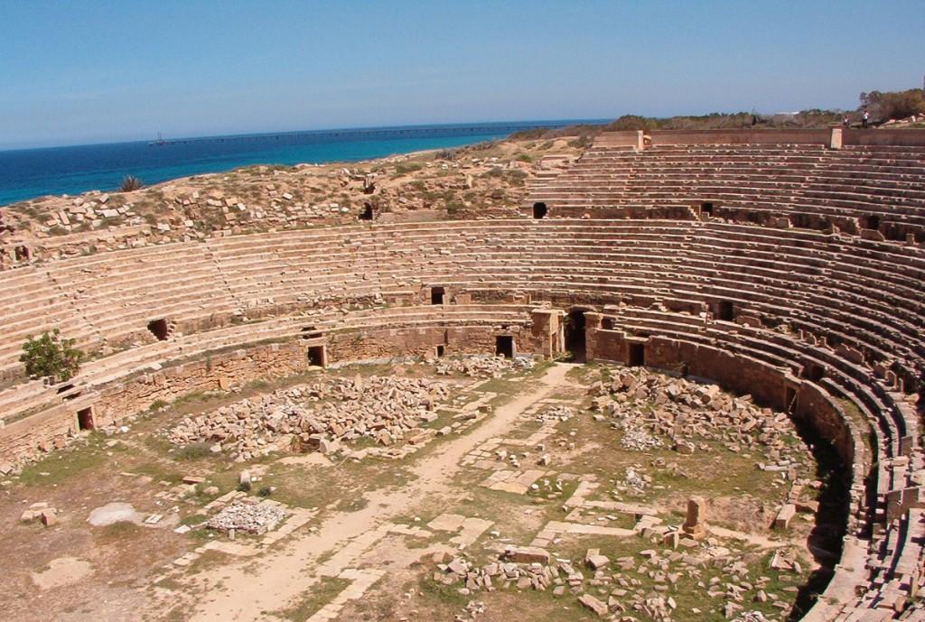 Lepcis Magna's famous amphitheatre - Credit : WikiPedia