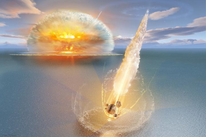 Illustration of impact resulting in unique double crater in Sweden. CREDIT : Don Dixon/Erik Sturkell/University of Gothenburg