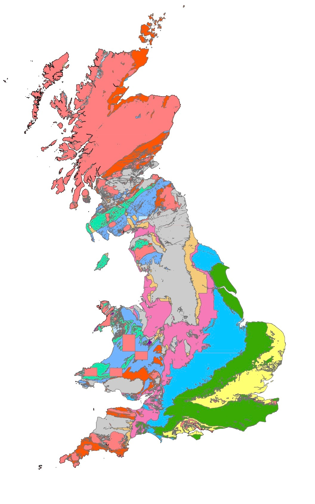 This map shows the geology of Great Britain spanning the past 550 million years. Image credit: Dr Alex Dunhill, University of Leeds