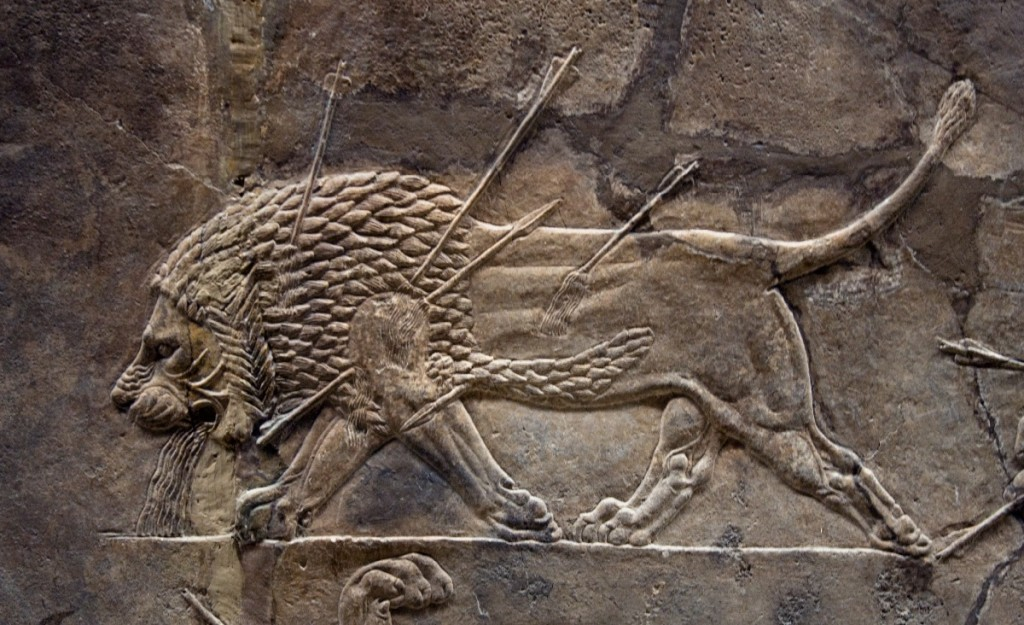"Assyrian relief from Nineveh, depicting a dying lion. Tag from exhibit says ""Courtiers watching lion hunts. Assyrian, about 645-635 BC. - Credit : British Museum"