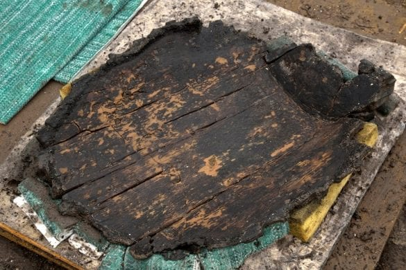 """A very well preserved wooden """"platter"""" found recently. 34cm by 43cm © Cambridge Archaeological Unit"""