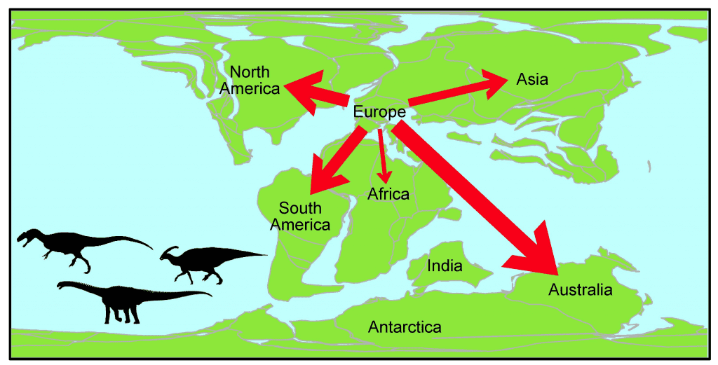 A map showing the migration of dinosaurs from Europe during the Early Cretaceous period (125-100 million years ago). Credit: Alex Dunhill, University of Leeds