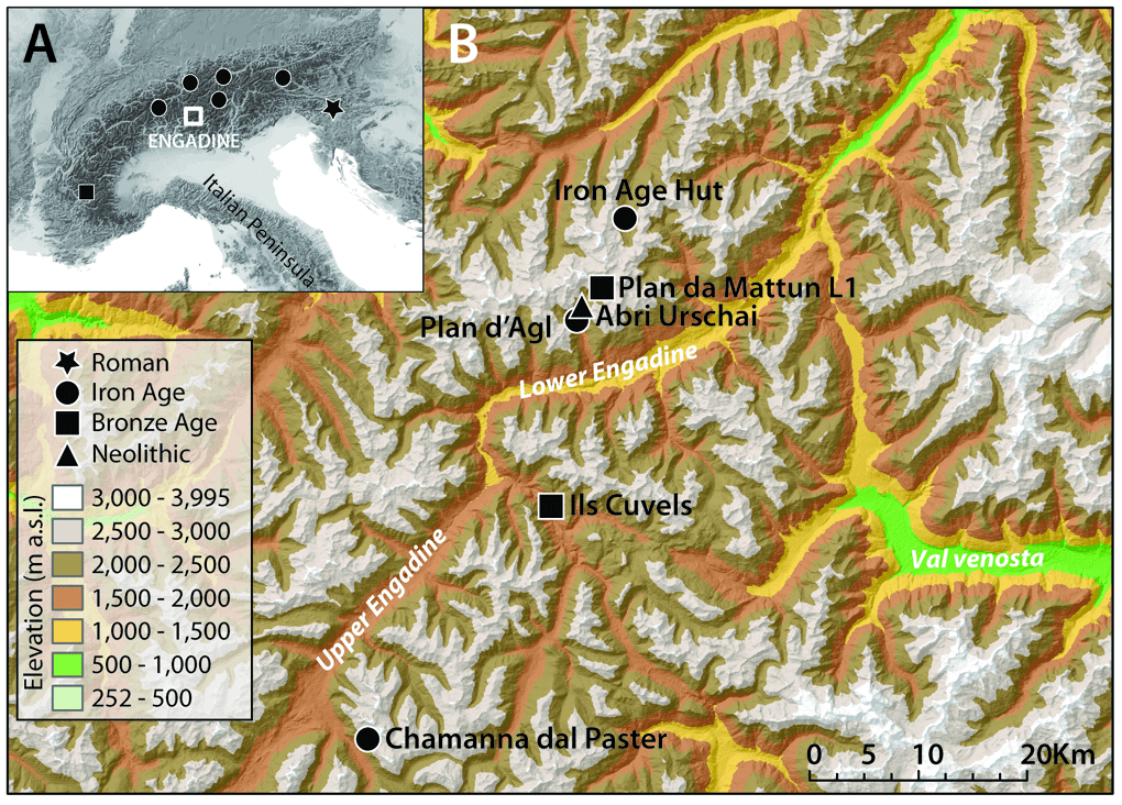 ocation and chronology of the earliest upland dry-stone structures in the Alps with secure dates; the Iron Age Hut of Val Fenga during excavation - Credit : Carrer F, et al. PLOS ONE