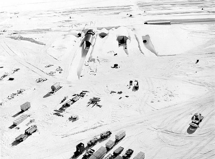 The northeast portal to Camp Century during construction in 1959. CREDIT : US Army