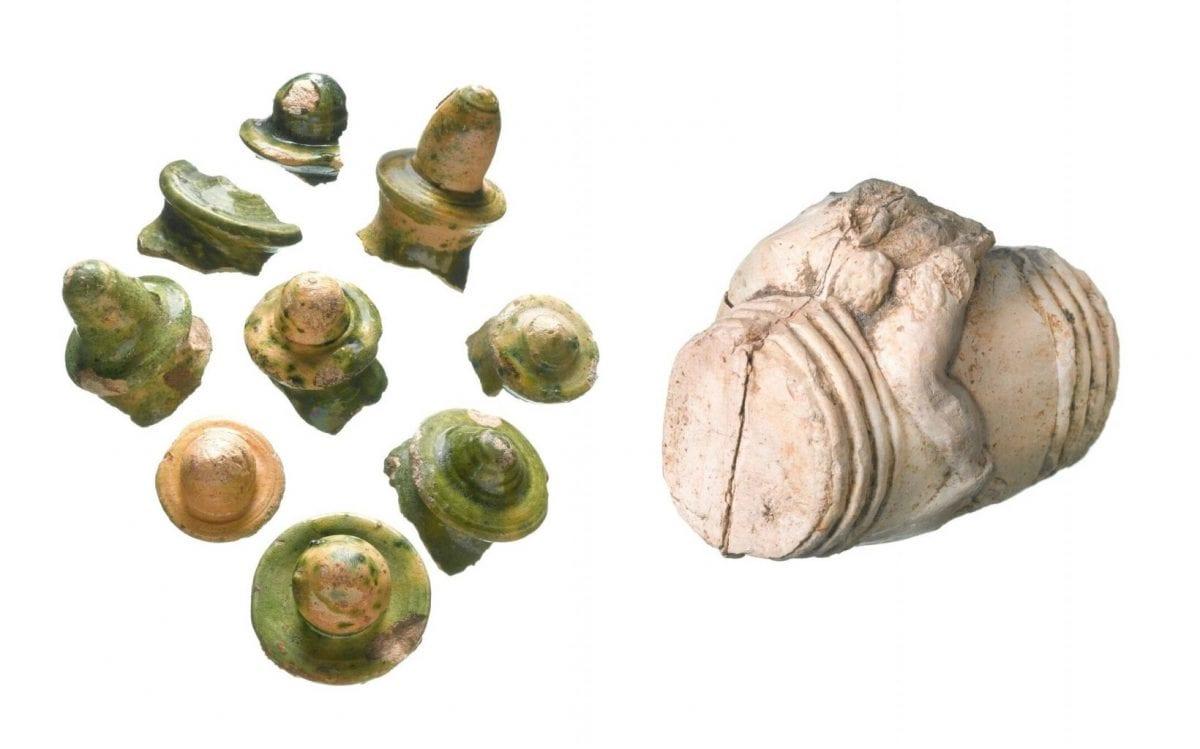Clay figure of Bacchus astride a barrel & 16th century money pot finials (c) MOLA .jpg