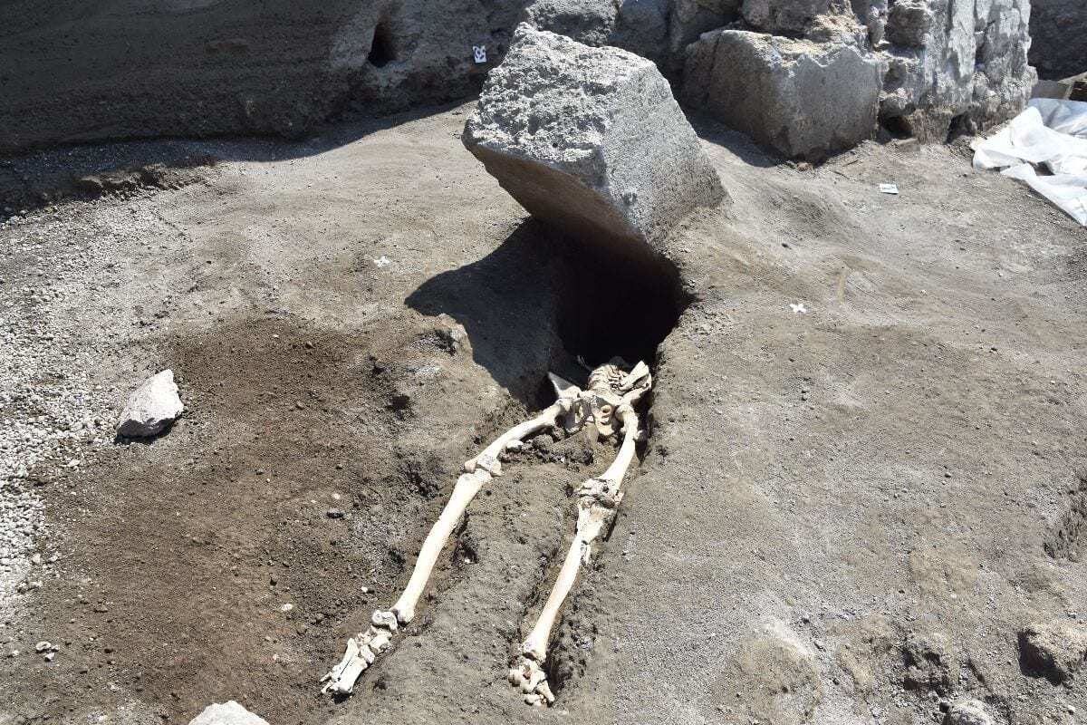 Discovery shows man was crushed by stone as he fled Pompeii eruption